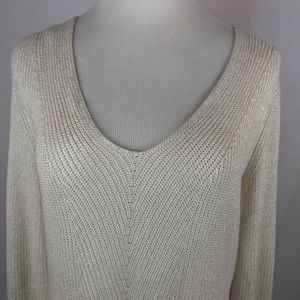 NWT Chaps V-neck Sweater Metallic